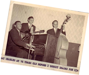Ray Charles at 16 years old performing with two other members of The McSon Trio
