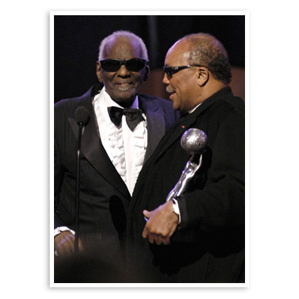 Ray Charles and Quincy Jones at the NAACP's Image Awards