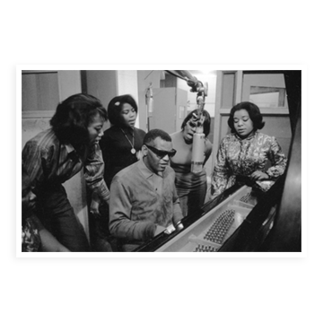 Ray Charles and the Raelettes in the recording studio