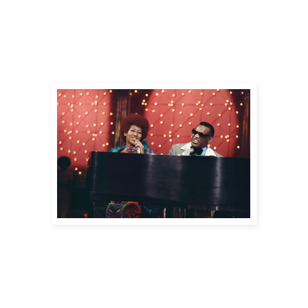 Aretha Franklin and Ray Charles on the piano