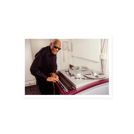Ray Charles recording on the piano